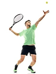 one caucasian  man playing tennis player service serving isolated on white background