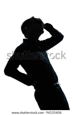 one caucasian man portrait silhouette pain backache in studio isolated white background