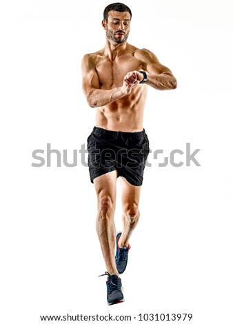 one caucasian man runner jogger running jogging isolated on white background with shadows #1031013979