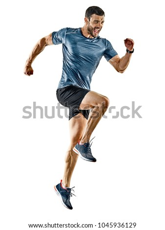 one caucasian man runner jogger running jogging isolated on white background with shadows #1045936129