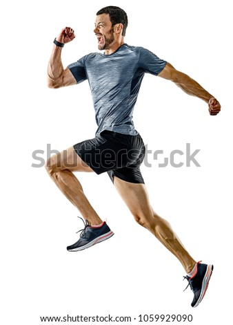 one caucasian man runner jogger running jogging isolated on white background with shadows #1059929090