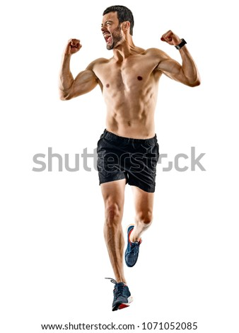 one caucasian man runner jogger running jogging isolated on white background with shadows #1071052085