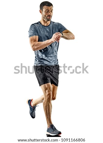 one caucasian man runner jogger running jogging isolated on white background with shadows #1091166806