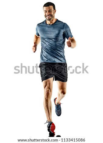 one caucasian man runner jogger running jogging isolated on white background with shadows #1133415086