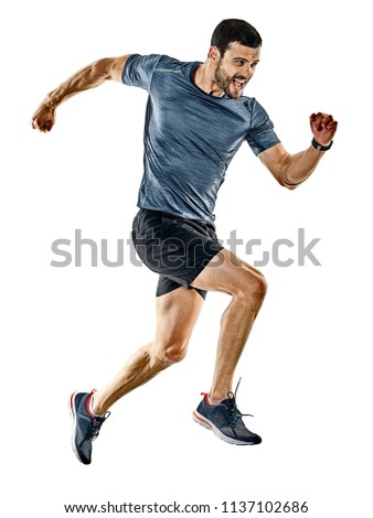 one caucasian man runner jogger running jogging isolated on white background with shadows #1137102686