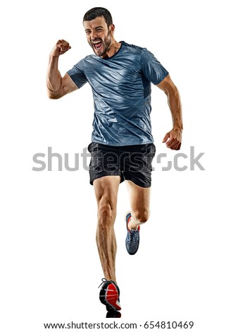one caucasian man runner jogger running jogging isolated on white background with shadows #654810469