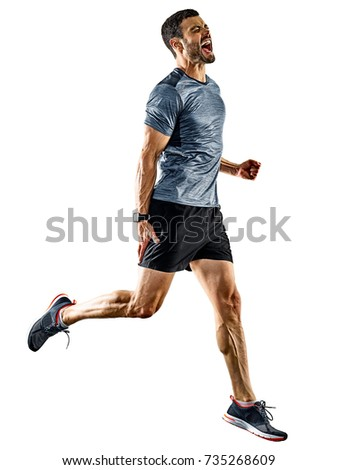 one caucasian man runner jogger running jogging isolated on white background with shadows #735268609
