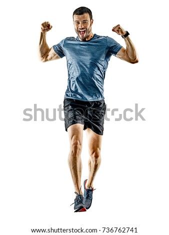 one caucasian man runner jogger running jogging isolated on white background with shadows #736762741