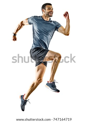 one caucasian man runner jogger running jogging isolated on white background with shadows #747164719