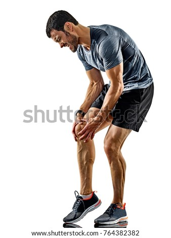 one caucasian man runner jogger running jogging isolated on white background with shadows #764382382