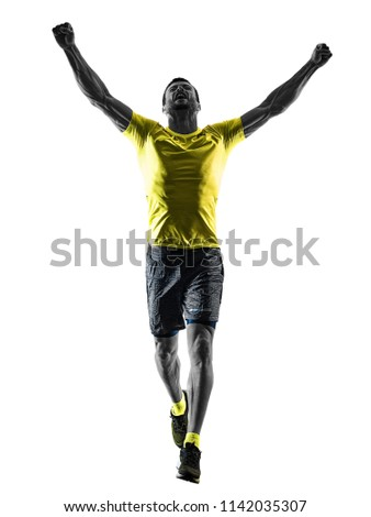 one caucasian man runner running jogging jogger happy silhouette isolated on white background #1142035307