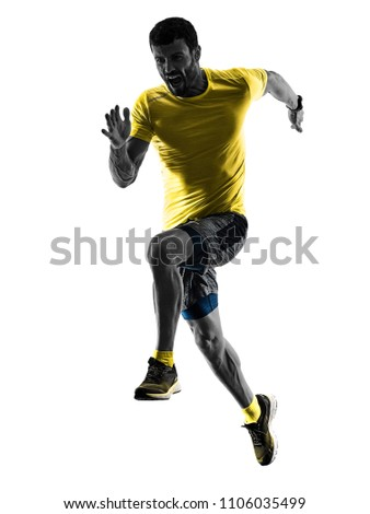 one caucasian man runner running jogging jogger silhouette isolated on white background #1106035499