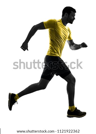 one caucasian man runner running jogging jogger silhouette isolated on white background #1121922362