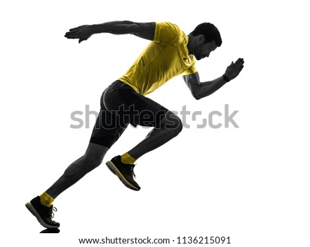 one caucasian man runner running jogging jogger silhouette isolated on white background #1136215091