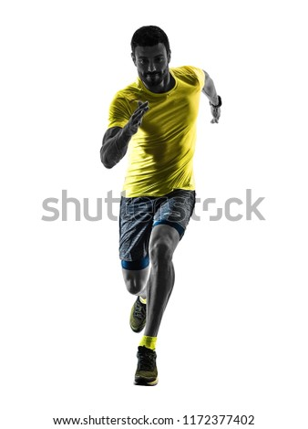 one caucasian man runner running jogging jogger silhouette isolated on white background #1172377402