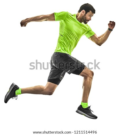 one caucasian man runner running jogging jogger silhouette isolated on white background