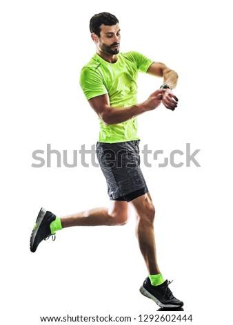 one caucasian man runner running jogging jogger silhouette isolated on white background #1292602444