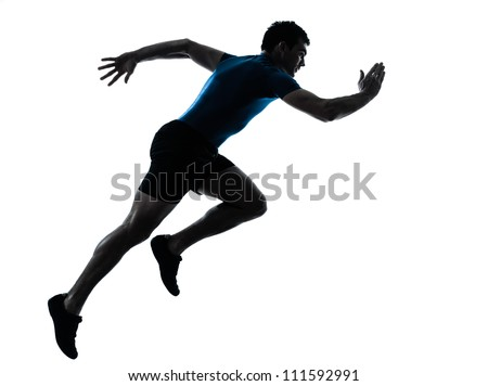 one caucasian man runner running sprinter sprinting  in silhouette studio  isolated on white background