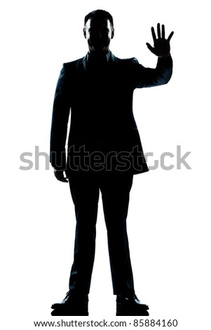 one caucasian man saluting high five full length silhouette in studio isolated white background - stock photo