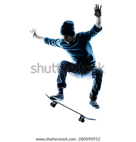one caucasian man skateboarder skateboarding  in silhouette isolated on white background #280090952