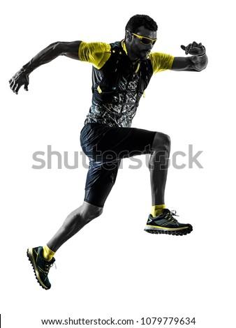 one caucasian man trail runner running silhouette isolated on white background #1079779634