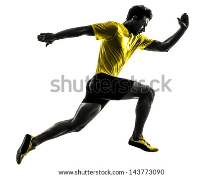 one caucasian man young sprinter runner running  in silhouette studio  on white background #143773090
