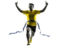 one caucasian man young sprinter runner running  winner at finish line  in silhouette studio  on white background