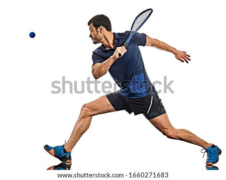 one caucasian mature man practicing squash player in studio isolated on white background Сток-фото ©
