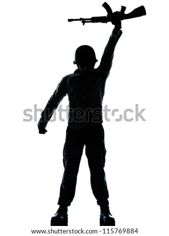 one caucasian revolutionary army soldier man holding ak47 kalachnikov on studio isolated on white background