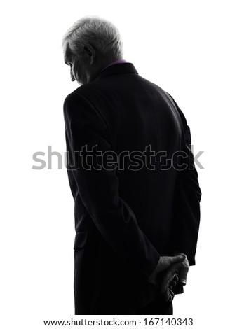 One Caucasian senior business man sad rear view silhouette White Background #167140343