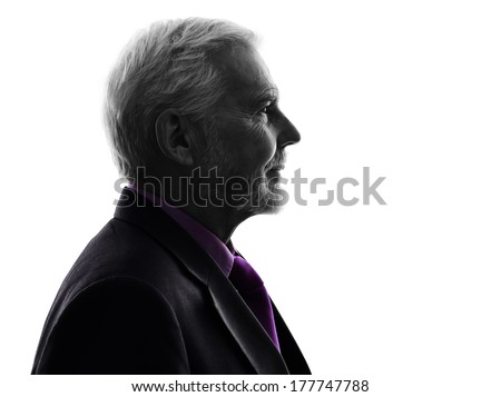 One Caucasian Senior Business Man Silhouette White Background #177747788
