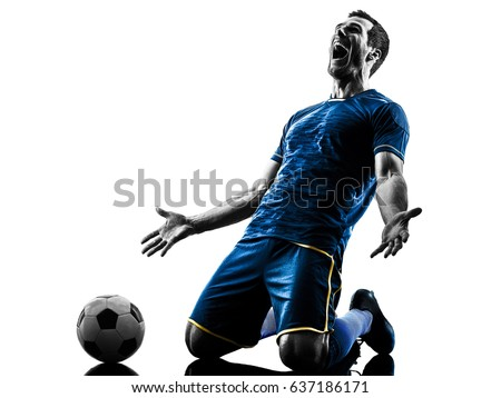 one caucasian soccer player man happy celebration  in silhouette isolated on white background #637186171
