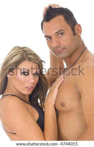 one caucasian woman and muscular hispanic male fashion model against white background
