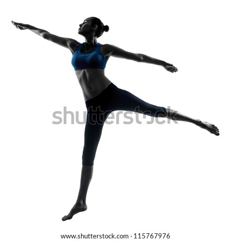 one caucasian woman exercising jumping stretching dancing in silhouette studio isolated on white background