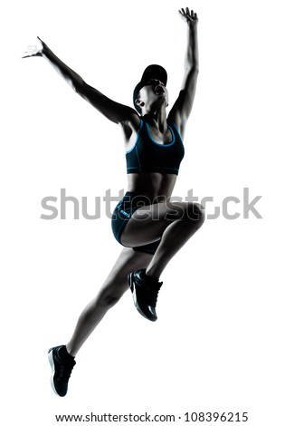 one caucasian woman runner jogger jumping in silhouette studio isolated on white background - Shutterstock ID 108396215