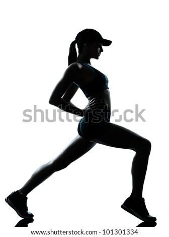 one caucasian woman runner jogger  stretching warm up in silhouette studio isolated on white background