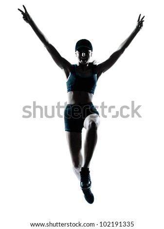 one caucasian woman runner jogger victorious jumping in silhouette studio isolated on white background