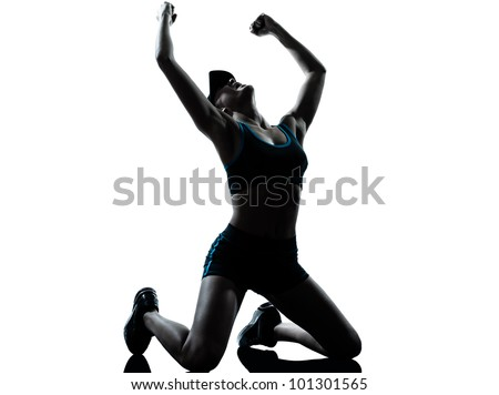 one caucasian woman runner jogger  winner victory in silhouette studio isolated on white background