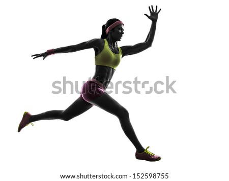 one caucasian woman runner running jumping  in silhouette on white background - Shutterstock ID 152598755