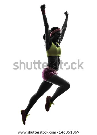 one caucasian woman runner running jumping  shouting in silhouette on white background #146351369