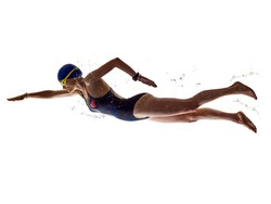 one caucasian woman sport swimmer swimming silhouette isolated on white background