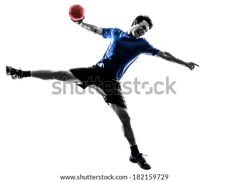 one caucasian young man exercising handball player in silhouette studio on white background