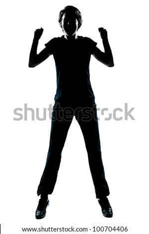 one caucasian young teenager silhouette boy or girl happy jumping screaming full length in studio cut out isolated on white background