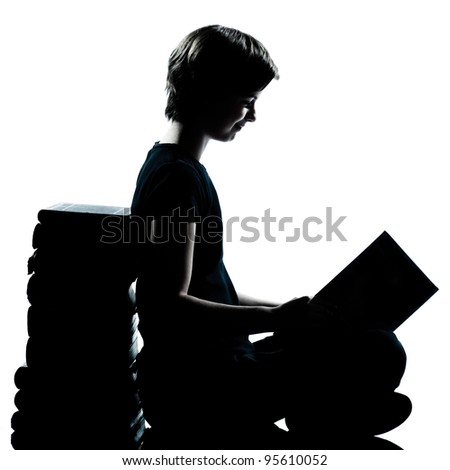one caucasian young teenager silhouette boy or girl reading full