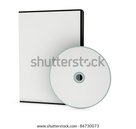 one cd or dvd case with a disc (3d render) - stock photo