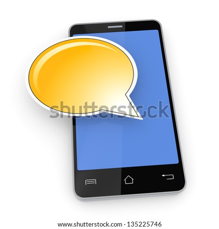 one cell phone with a text balloon (3d render)