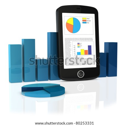 one cellphone/pda with the screen showing analytical and statistical data. Around it there are a bar chart and a pie chart (3d render)