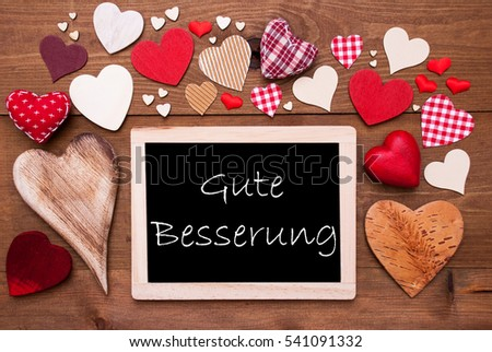 One Chalkbord, Many Red Hearts, Gute Besserung Means Get Well  #541091332