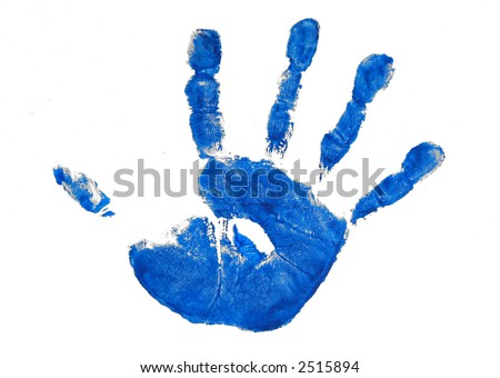One childs blue painted handprint. - stock photo