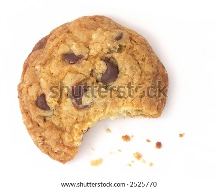 One chocolate chip cookie with a bite taken out and crumbs scattered around, isolated on white background.